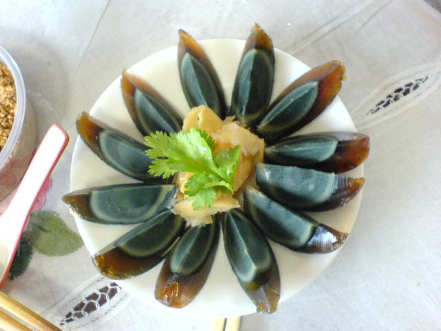 Century eggs on a plate
